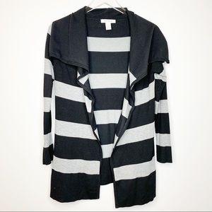 WHBM Gray Black Striped Long Open Cardigan Large